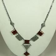 SALE Vintage Silver Metal and Square Carnelian Lavaliere Necklace