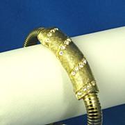 SALE Vintage Selini Gold Tone Metal Pave Rhinestone Bracelet
