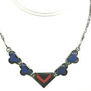 SALE PENDING Jakob Bengel Machine Age Blue and Red Galalith Necklace