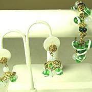 SALE Hattie Carnegie Green Glass Beaded Bracelet and Earrings