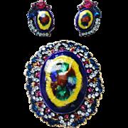Verified D&E Juliana Peacock Eye Enameled  Limoges  Brooch & Earrings