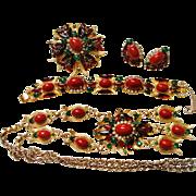 Extremely Rare Verified D&E Juliana Egyptian Style Red Cabochon Rhinestone Parure