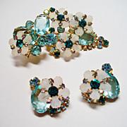 Verified D&E Juliana Light Aqua Rhinestone Brooch & Earrings