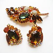 Verified D&E Juliana Fall Color Rhinestone Brooch & Earrings