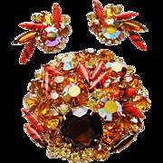 Vintage D&E Juliana Fall Color Rhinestone Brooch & Earrings