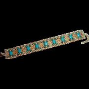 Vintage D&E Juliana  Glass Rhinestone Turquoise Dog Collar