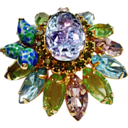 D&E Juliana Lava Glass Watermelon Blue & Green Brooch