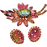 D&E Juliana Watermelon Crushed Ice Stone & Pink Rhinestone Brooch & Earrings