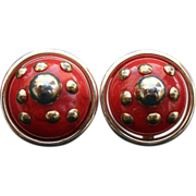 SALE Vintage Bergere Clip Stlye Earrings Marbled Red Plastic Gold Tone