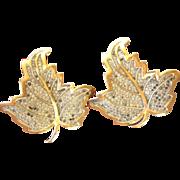 SALE Large Vintage  DE JA   Reja Rhinestone Leaf Fur Clips