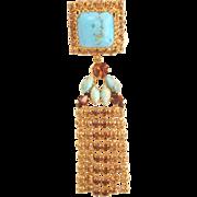 SALE Vintage Austria Pin Fringe and Rhinestones Faux Turquoise