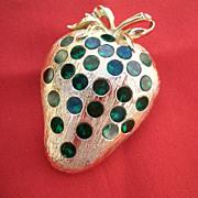 SALE Vintage Weiss Strawberry Pin/Brooch w/green Rhinestones