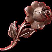 SALE Vintage Trifari Crown Rose Pin  Silver Tone