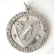 SALE Rare! 1945 Sterling Silver Gold Putting Champion Pendant Medal Award