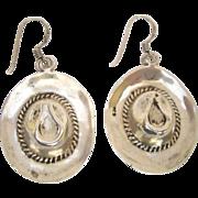 SALE Sterling Silver Cowboy Hat Earrings Hook/pierced Style