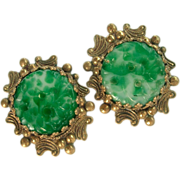 Vintage Faux Jade glass Earrings clip style