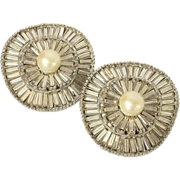 Large Round Vintage Baguette Rhinestone Faux Pearl Earrings Clip Style
