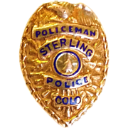 SOLD Old Sterling Colorado Police Badge Lapel Badge
