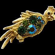 REDUCED Vintage Rhinestone Bird Pin / Parrot  Cockatoo