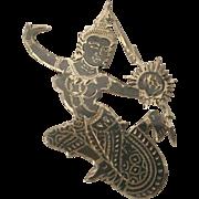 SALE Vintage Niello Siam Sterling Silver Goddess /Dancer Pin