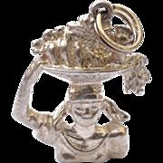 REDUCED Unique Sterling Silver Bracelet Charm Fruit Bowl