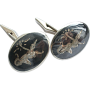 REDUCED Vintage Sterling Silver Siam Cufflinks  Goddess