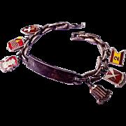 Unique Sterling Silver Enamel ID Charm Bracelet