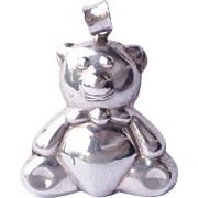SALE Adorable Sterling Silver .925 Teddy Bear Necklace Pendant