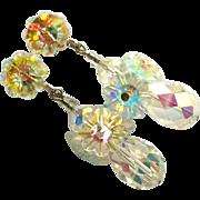 SALE Austrian Crystal Drop Earrings Aurora Borealis Clip Style