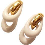 REDUCED Vintage Trifari earrings White and Gold Tone