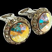 SALE Vintage Aurora Borealis Earrings Rondelles