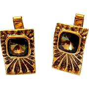 Vintage Gold Tone Cufflinks with a Green Glass Center