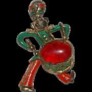 SALE Green & Orange Enameled Pot Metal Little Drummer Boy w/ Red Lucite Cabochon Pin