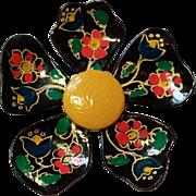 SALE Vintage Hand Painted Metal Flower Pin Germany Black