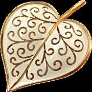 SALE Vintage White Enamel Trifari Gold Tone Leaf Pin / Brooch