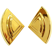 Huge Gold Tone Napier Earrings Triangular shaped