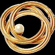 SALE Vintage 1/20 12k GF Winard cultured Pearl Pin