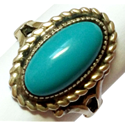 SALE Vintage Sterling Silver Faux glass turquoise stone Ring 5 1/2