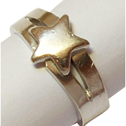 SALE Vintage Sterling Silver Star Ring  size 9