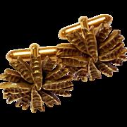 Vintage Gold Tone Textured Cufflinks cuff links