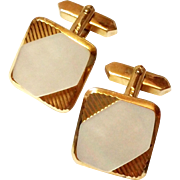 Vintage Gold Tone Mother of Pearl Cufflinks ADA cuff links
