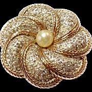 SALE Vintage Jomaz Pin Paste Rhinestones Faux Pearl