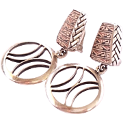 SALE Beautiful vintage .950 Silver Clip Earrings Artist Signed