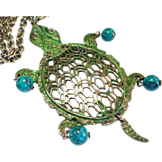 SALE Fun Vintage Turtle Pendant Necklace