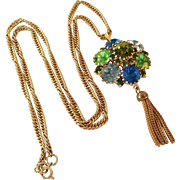 SALE Vintage Tassel Rhinestone Pendant necklace Green and Blue