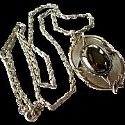 Vintage Silver Tone Marcasite Pendant Necklace