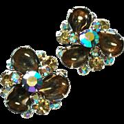Julianna Vintage Smokey and Aurora Borealis glass stone earrings clip style