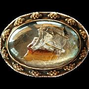 SALE Vintage Ship Reversed Craved Pin Essex Brooch