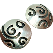 SALE Vintage Round Sterling Silver Swirl Design Earrings Clip Style
