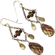 SALE Sterling Silver Faceted Cut Smokey Quartz Earrings Signed Barse